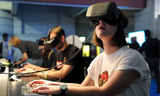 The Oculus Rift headset is tested by attendees at the Eurogamer Expo at Earls Court in London.