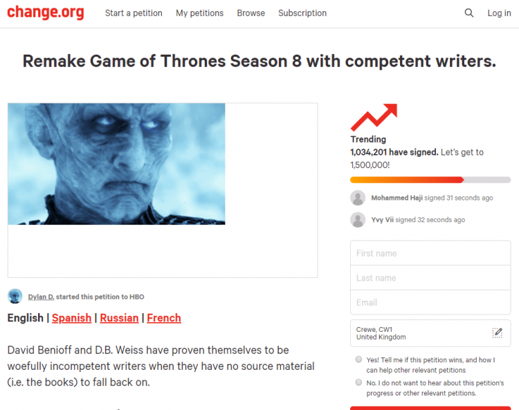 Game of Thrones is showing the dark side of Fandoms. Again.